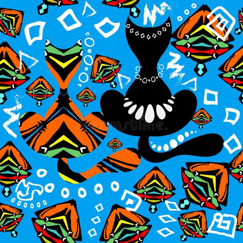 Nahtloses Muster des dekorativen bunten Vektors mit zwei Katzen Stammes- afr vektor abbildung