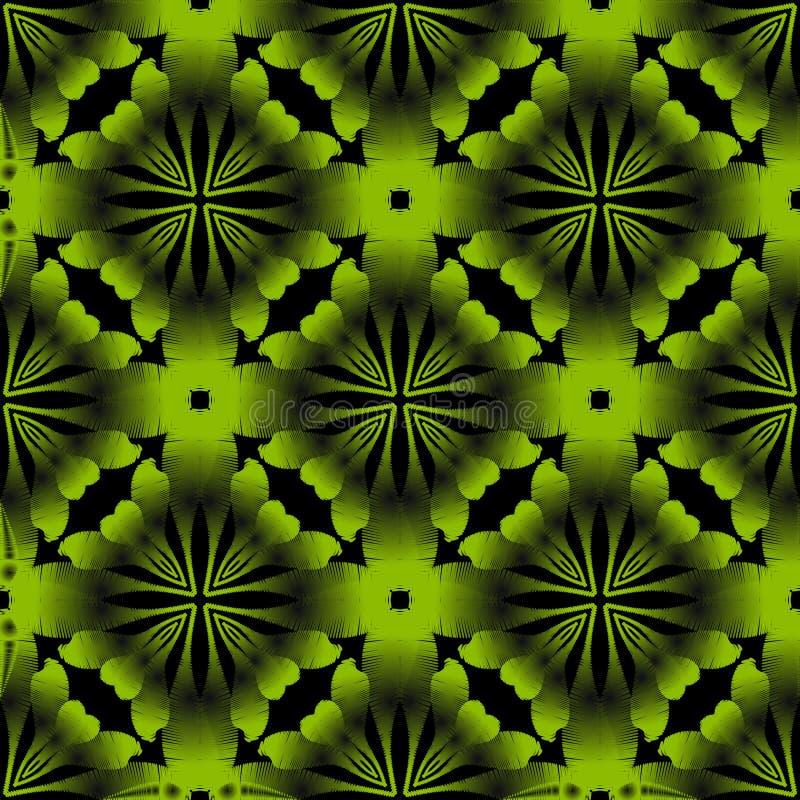Nahtloses Muster des dekorativen grünen Vektors 3d des Schmutzes Oberfläche maserte grungy Hintergrund Stickereiartabstrakte Blum lizenzfreie abbildung
