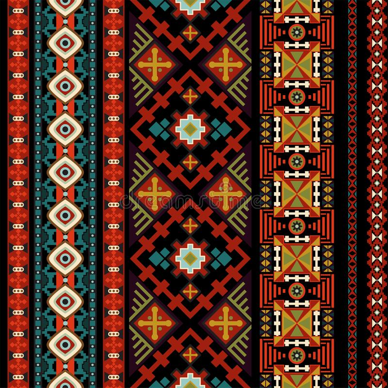 Nahtloses Muster des dekorativen Vektors Ethnische nahtlose Tapete Dekorativer Volkshintergrund Geometrische Illustration des Vek stock abbildung