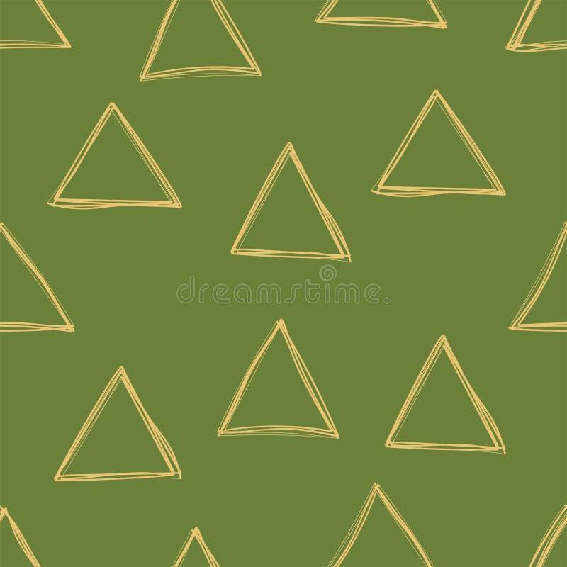 Nahtloses Muster des Dreiecks Vektorgrün und goldener Hintergrund Einklebebuch, Geschenkpackpapier, Gewebe Gekritzelskizze lizenzfreie abbildung