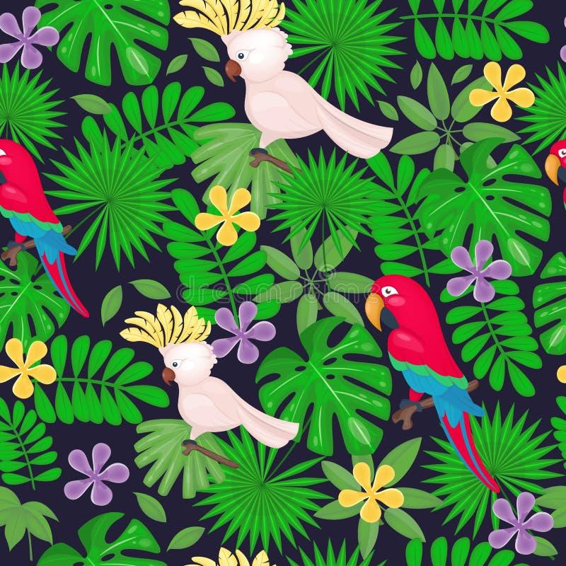 Nahtloses Muster des Dschungels mit tropischen Blättern und Blumen und Papageien auf dem weißen Hintergrund Auch im corel abgehob lizenzfreie abbildung