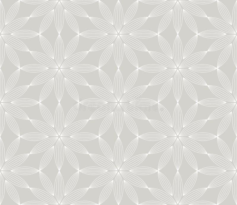 Nahtloses Muster des einfachen geometrischen Vektors der Zusammenfassung mit wei?er Linie Blumenbeschaffenheit auf grauem Hinterg stock abbildung