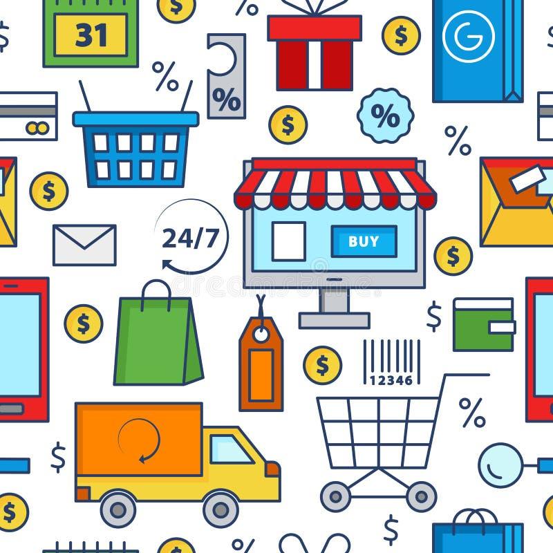 Nahtloses Muster des Einkaufsikonen-Vektors Kauf- und Lieferungssammlung On-line-- oder Offlineeinkaufszeichen Geldverkauf stock abbildung