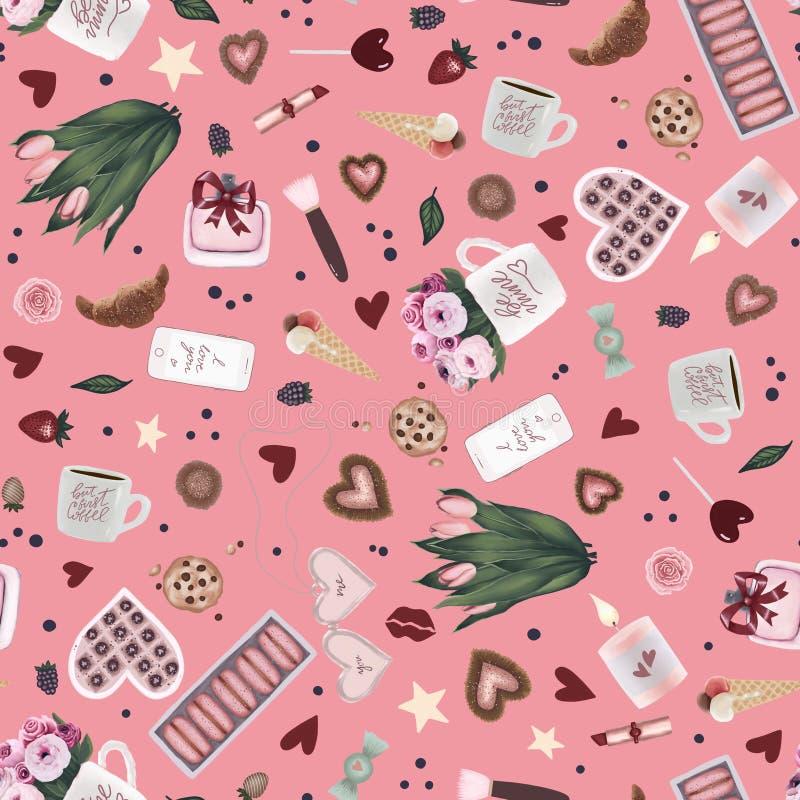 Nahtloses Muster des einzigartigen Rosavalentinstags mit Valentinsgrußhandgezogener Kunst, Blume, Kaffeetasse, Herz, Stern, Prali lizenzfreie abbildung