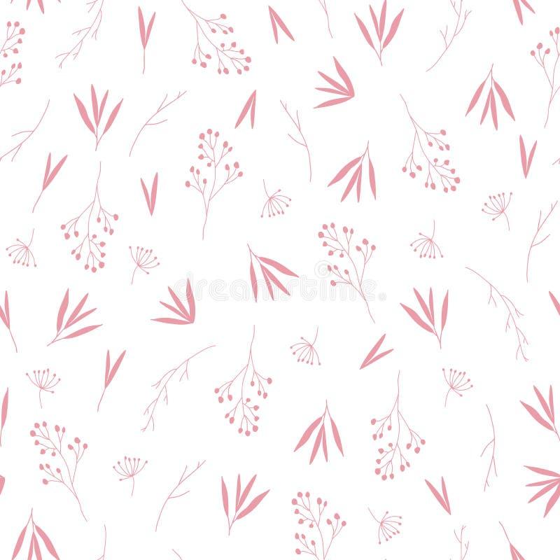 Nahtloses Muster des empfindlichen rosa Fallherbstlaubs vektor abbildung