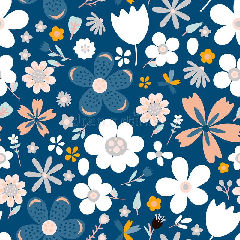 Nahtloses Muster des erstaunlichen Blumenvektors von Blumen stock abbildung