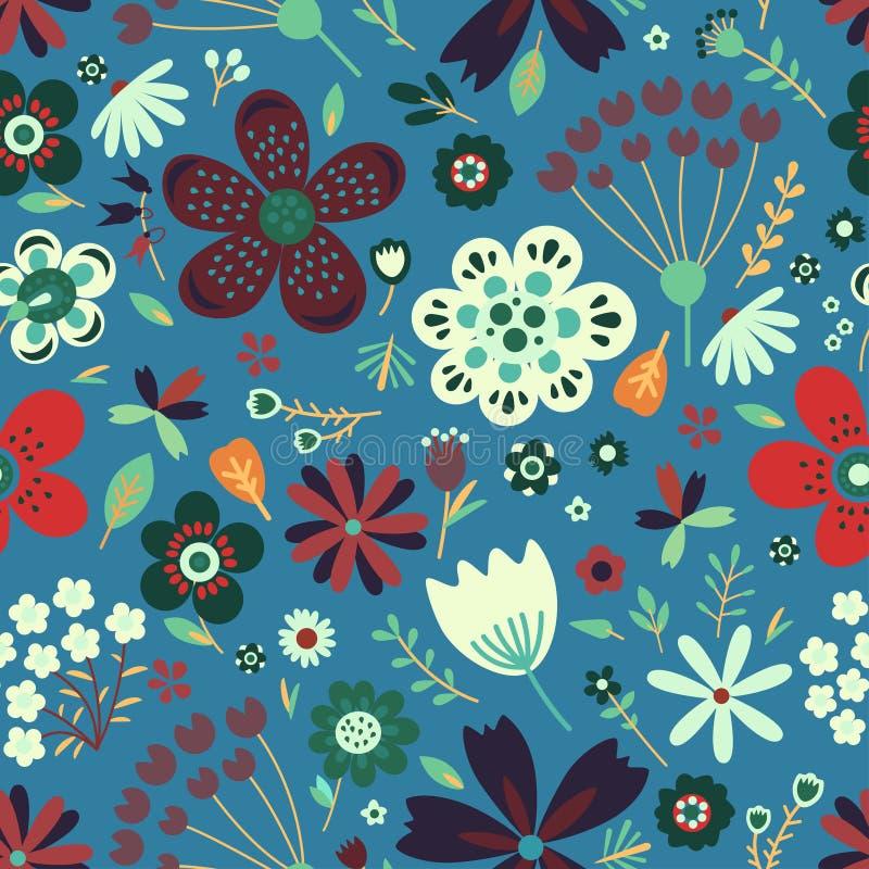 Nahtloses Muster des erstaunlichen Blumenvektors von Blumen lizenzfreie abbildung