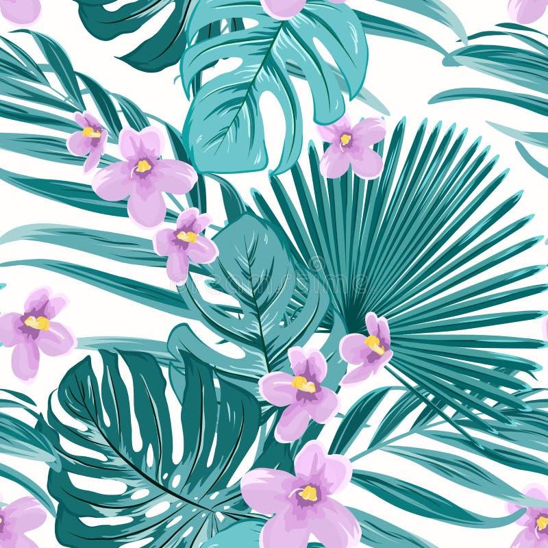 Nahtloses Muster des exotischen tropischen Blumengrüns lizenzfreie abbildung