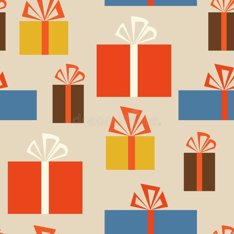 Nahtloses Muster des Feiertags mit Geschenkboxen in unterschiedlichem vektor abbildung