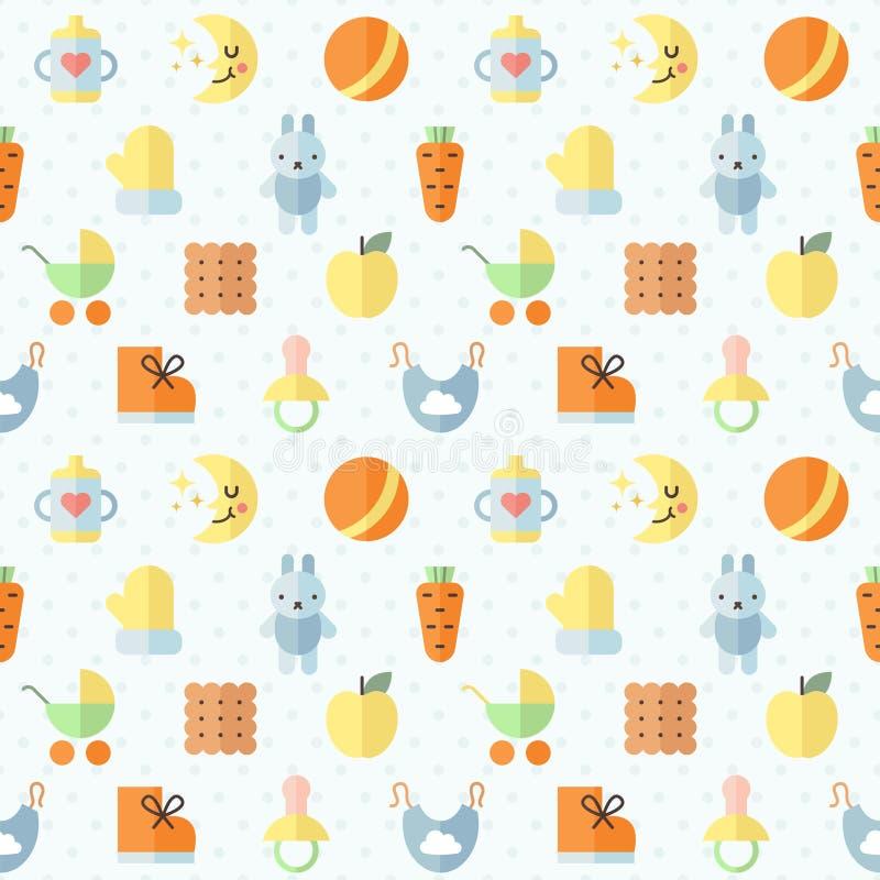 Nahtloses Muster des flach mehrfarbigen netten Vektors des Materials des Babys (Mädchen und Junge) Minimalistic-Design Erster Tei lizenzfreie abbildung