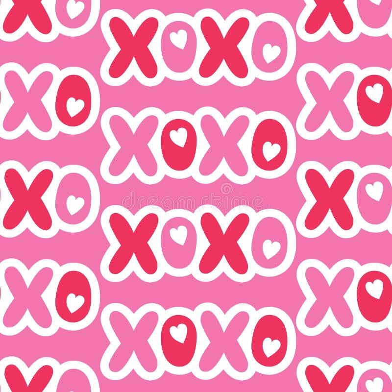 Nahtloses Muster des flachen Cartoonish Valentinstag-Typografievektors Flecken-Herzen und Wörter Liebe XOXO stock abbildung