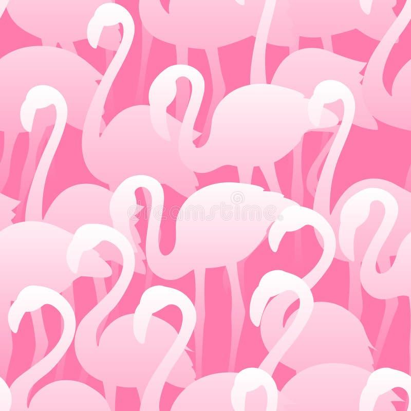 Nahtloses Muster des Flamingos Tropische exotische Beschaffenheit des Vektors Hand gezeichnete V?gel vektor abbildung