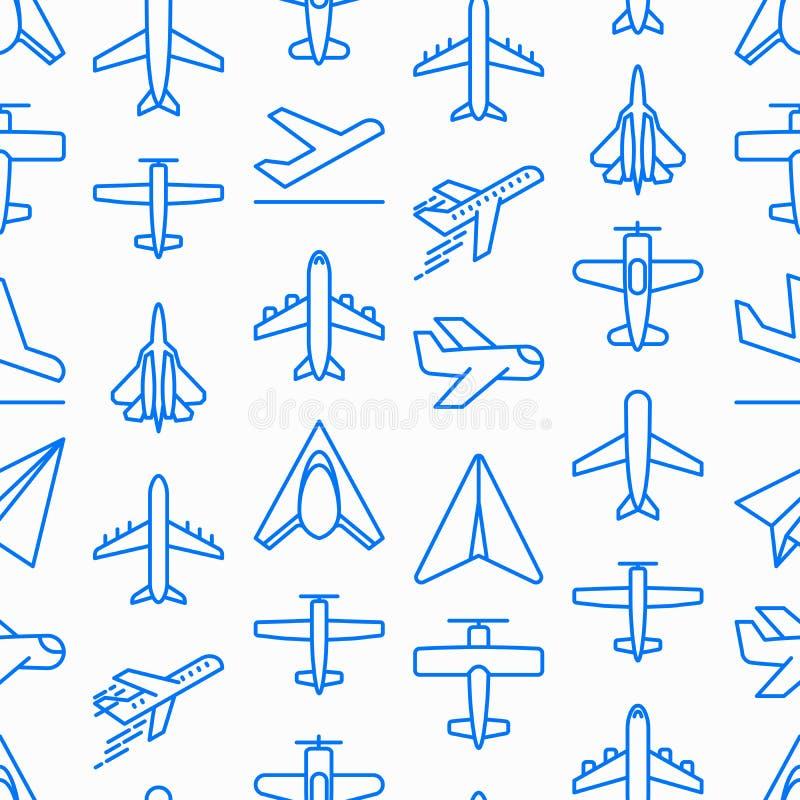 Nahtloses Muster des Flugzeuges mit dünner Linie Ikonen vektor abbildung