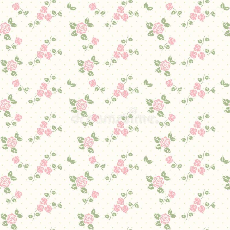 Nahtloses Muster des Frühlinges mit Inneren und Rosen vektor abbildung