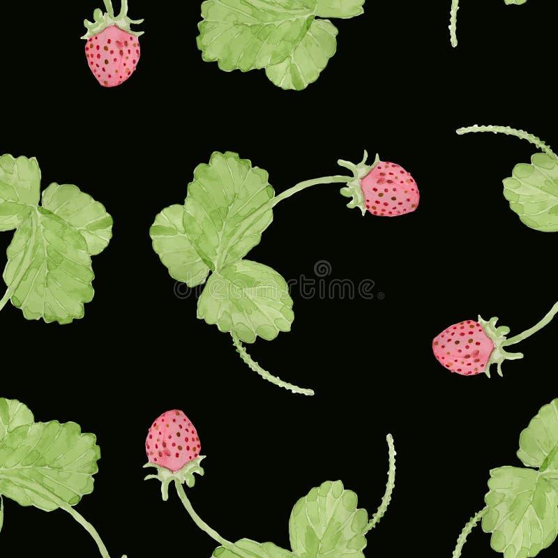 Nahtloses Muster des Frühlingserdbeeraquarells lizenzfreies stockfoto