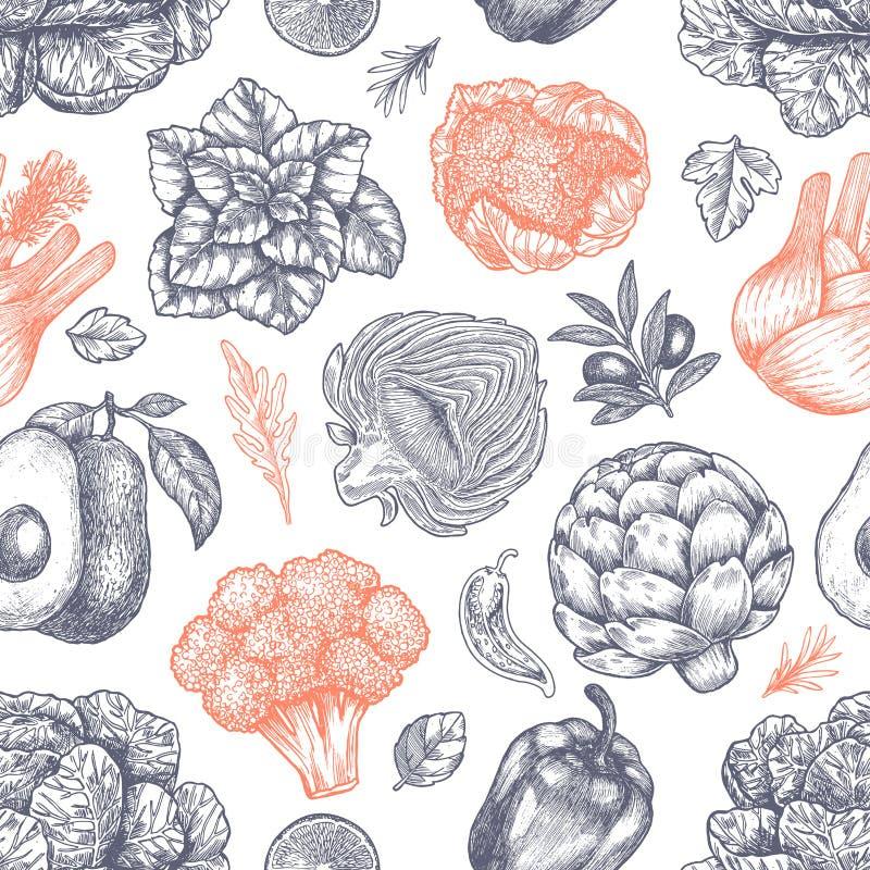 Nahtloses Muster des frischen grünen Gemüses Handsketched-Weinlesegemüse Zeile Kunstabbildung Auch im corel abgehobenen Betrag lizenzfreie abbildung