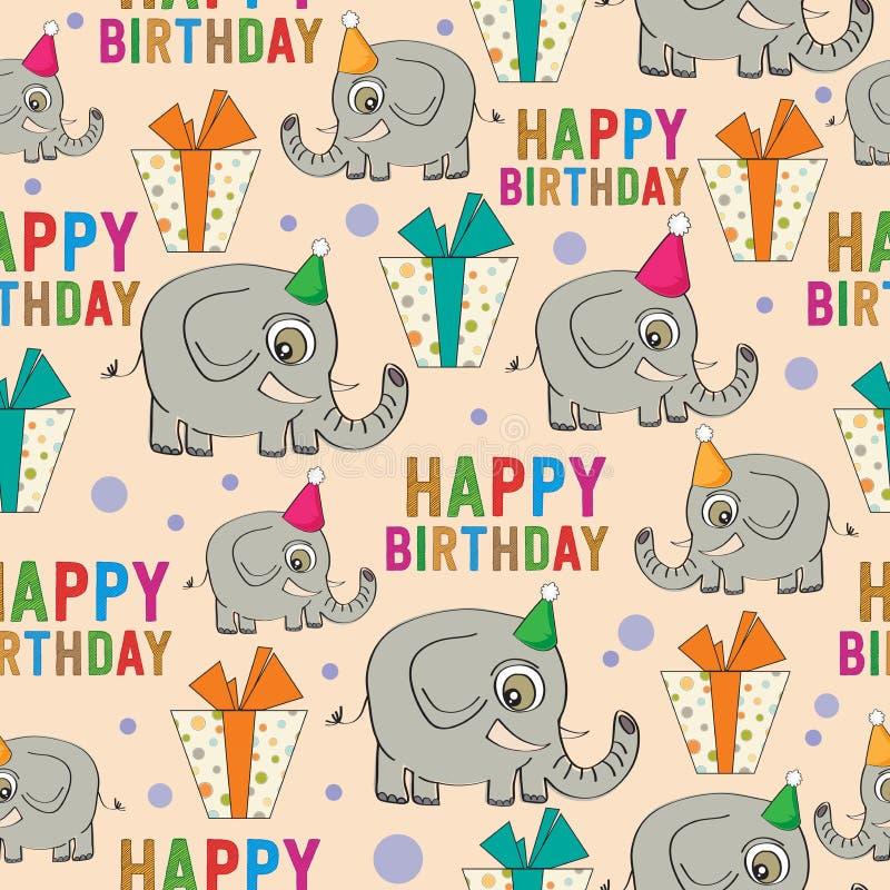 Nahtloses Muster des Geburtstages mit Elefanten und Geschenken stock abbildung