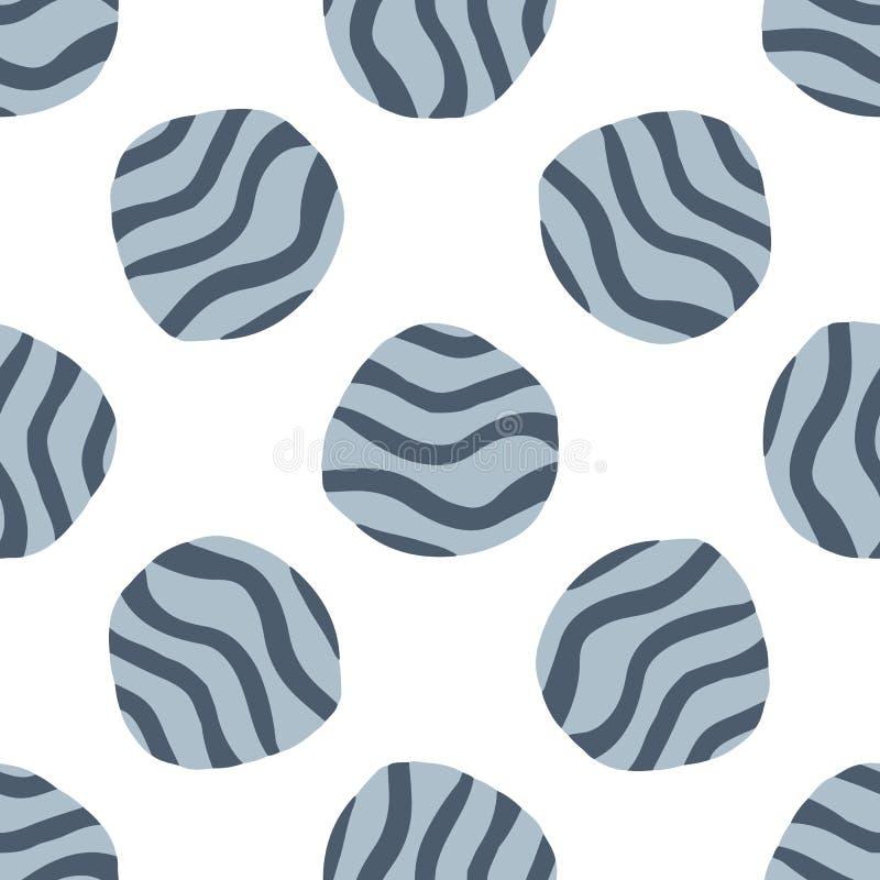 Nahtloses Muster des Gekritzelkiesels auf weißem Hintergrund stock abbildung