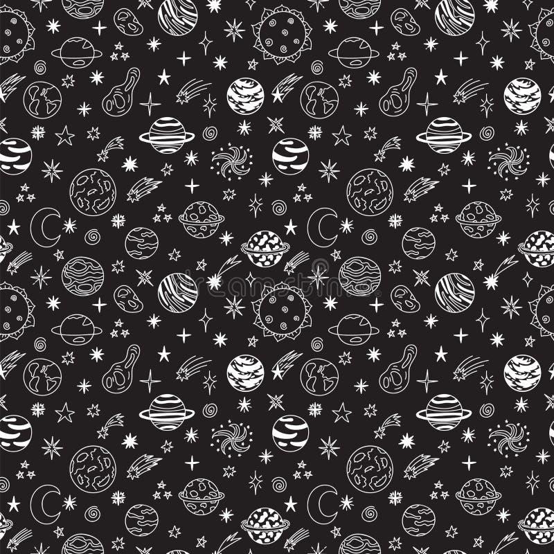 Nahtloses Muster des Gekritzelraumes Nette Hand gezeichneter kindischer Hintergrund Kosmische Gegenstände eingestellt Karikaturga vektor abbildung
