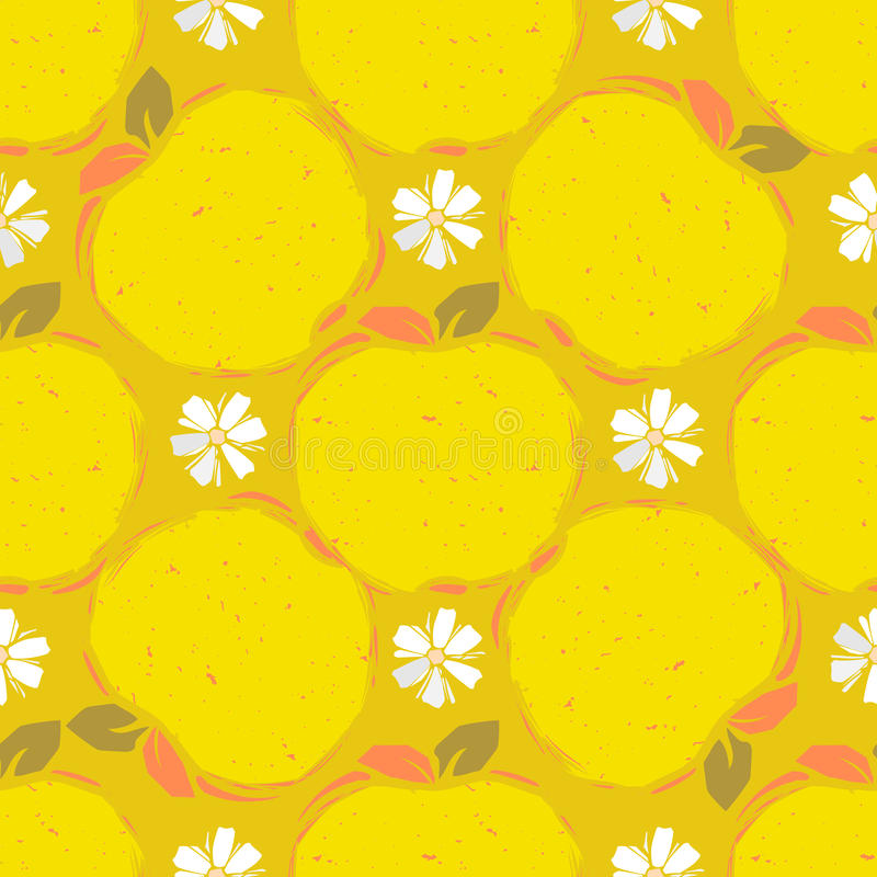 Nahtloses Muster des gelben Apfels stock abbildung