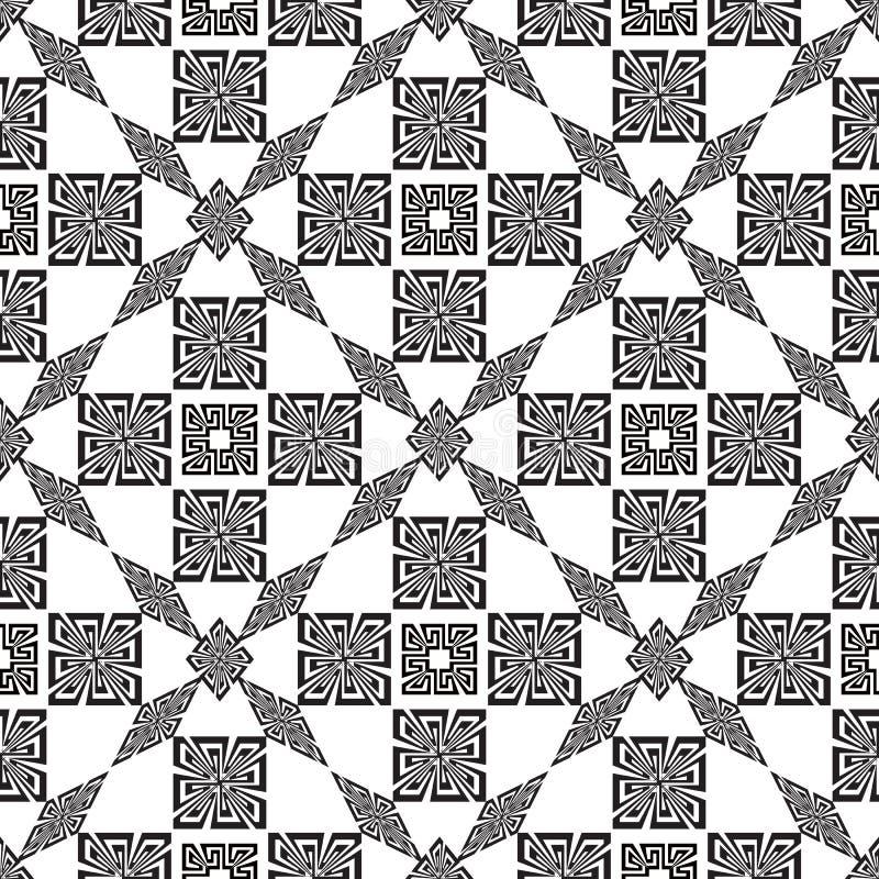 Nahtloses Muster des geometrischen modernen dekorativen Schwarzweiss-Vektors Griechischer Schlüssel schlängelt sich alte Verzieru vektor abbildung