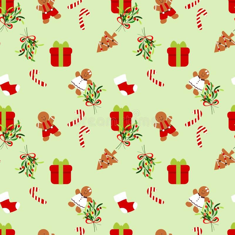 Nahtloses Muster des Geschenk- und Weihnachtsplätzchens vektor abbildung