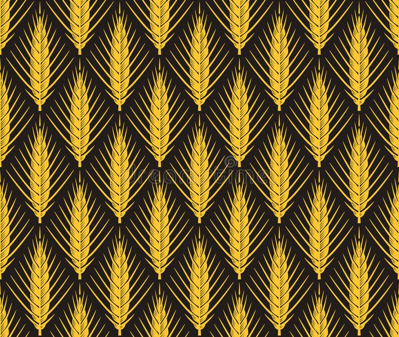 Nahtloses Muster des Getreideohr-Vektors stockfotos