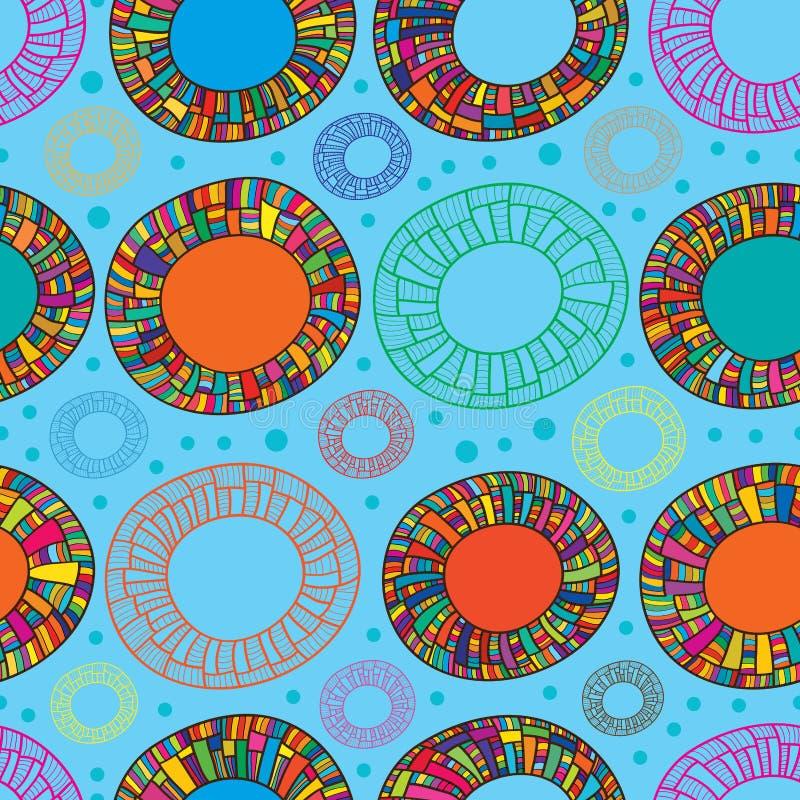 Nahtloses Muster des glücklichen Farbdonuts vektor abbildung