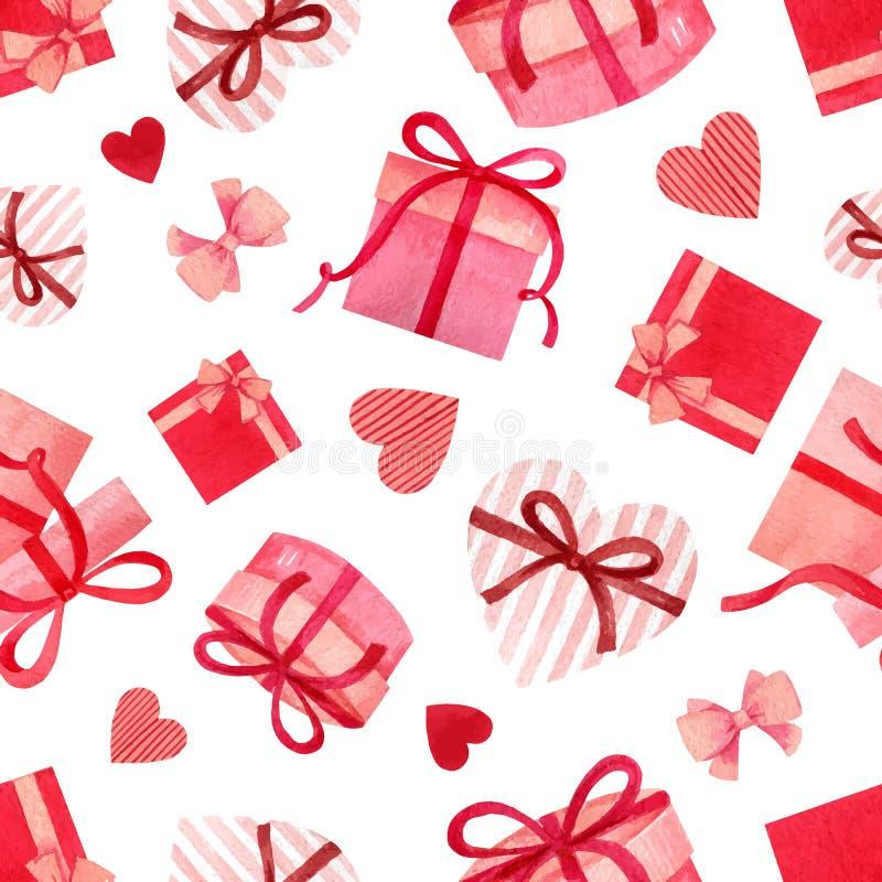 Nahtloses Muster des glücklichen Valentinstagaquarell-Vektors lizenzfreie abbildung