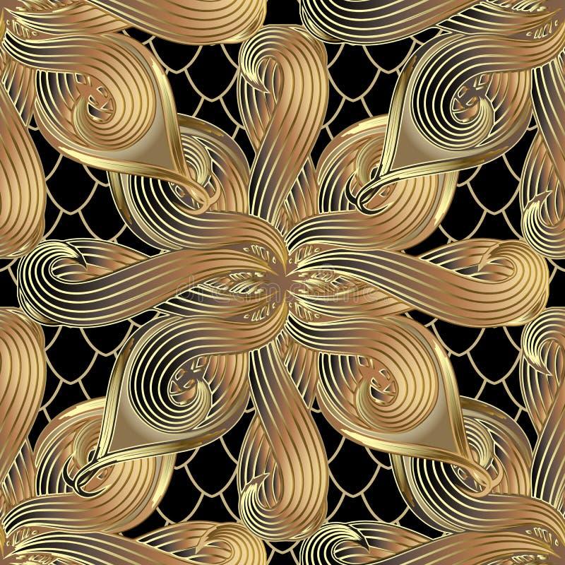 Nahtloses Muster des Gold-abstrakten Blumen-Vektors 3d Dekoratives Gitter lizenzfreie abbildung