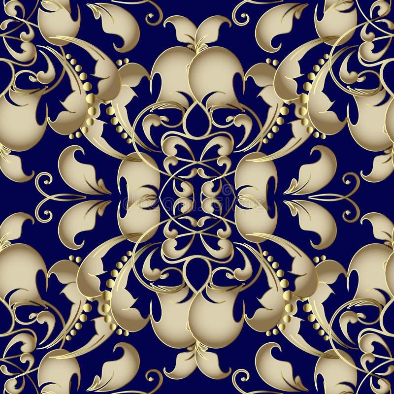 Nahtloses Muster des Goldbarocken Vektors Dunkelblaue dekorative Flora stock abbildung