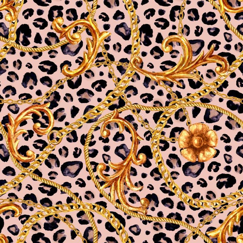 Nahtloses Muster des goldenen barocken Kettenzauberleoparden Aquarellhandgezogenes Modegold und Tierbeschaffenheit vektor abbildung