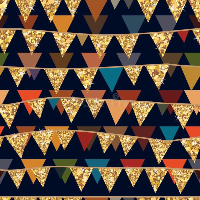 Nahtloses Muster des goldenen Funkelnflaggen-Falles vektor abbildung
