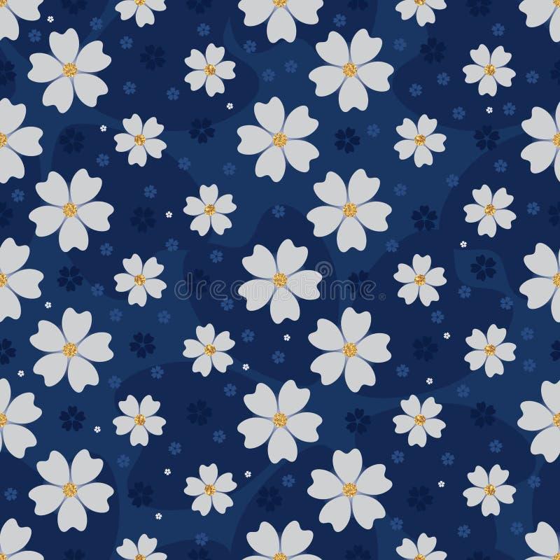 Nahtloses Muster des goldenen Funkelns Japaner-Kirschblüte-Blume stock abbildung