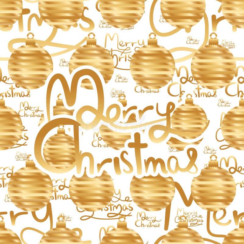 Nahtloses Muster des goldenen Streifens der frohen Weihnachten stock abbildung