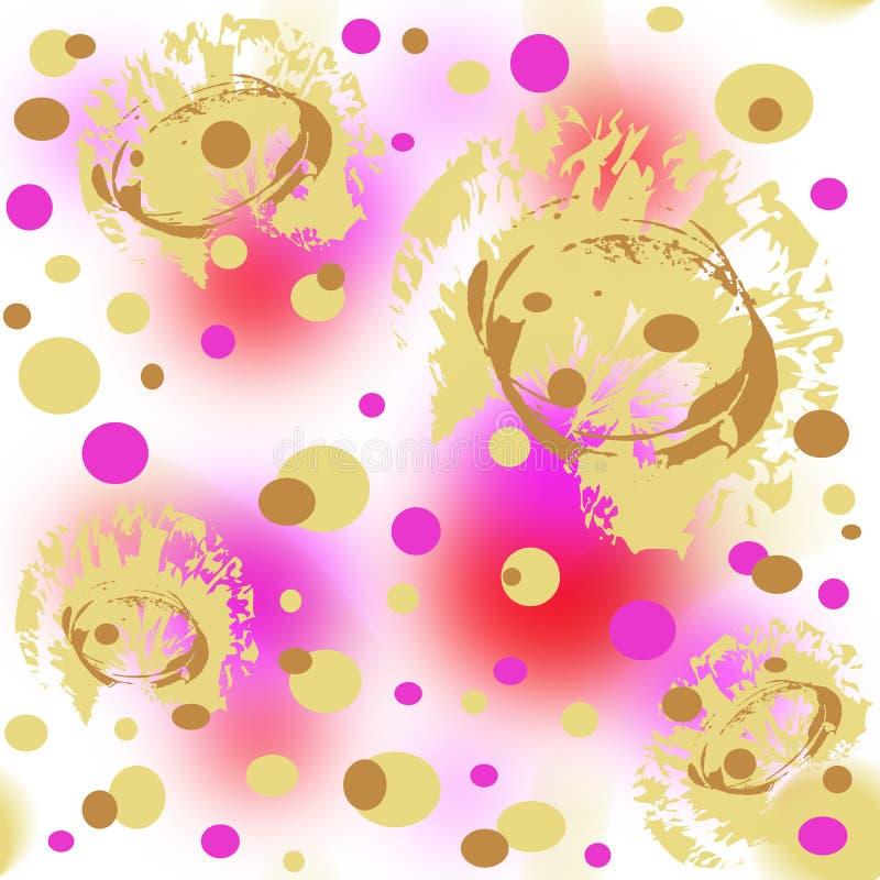 Nahtloses Muster des Goldes, der Koralle und der purpurroten abstrakten Stellen, der Linien und der Punkte stockfoto