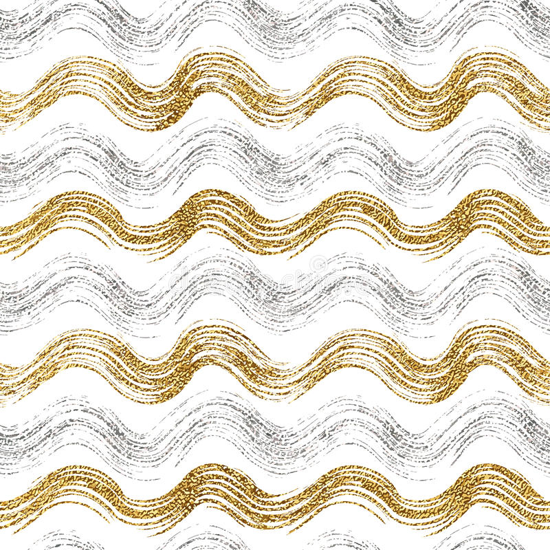 Nahtloses Muster des Goldes und der silbernen gewellten Streifen stockbild