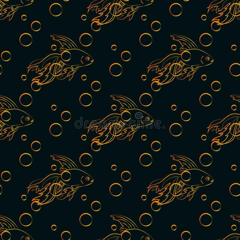 Nahtloses Muster des Goldfisches stock abbildung