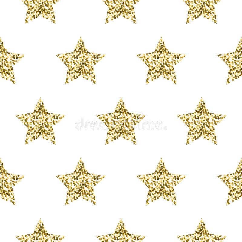 Nahtloses Muster des Goldfolien-Schimmerfunkeln-Sternes lizenzfreie abbildung