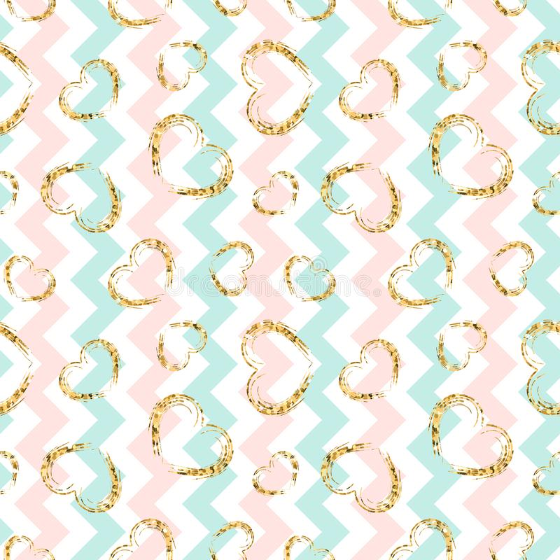 Nahtloses Muster des Goldherzens Blau-rosa-weißer geometrischer Zickzack, goldene Schmutzkonfettiherzen Liebe, Valentinstag stock abbildung