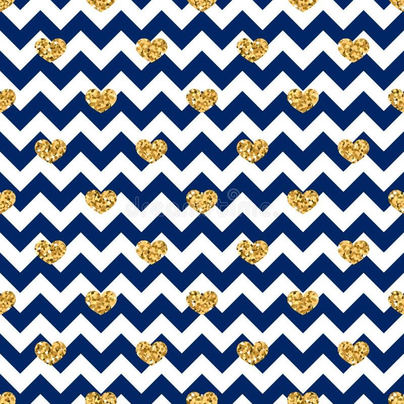 Nahtloses Muster des Goldherzens Blau-weißer geometrischer Zickzack, goldene Konfettiherzen Symbol der Liebe, Valentinstagfeierta vektor abbildung
