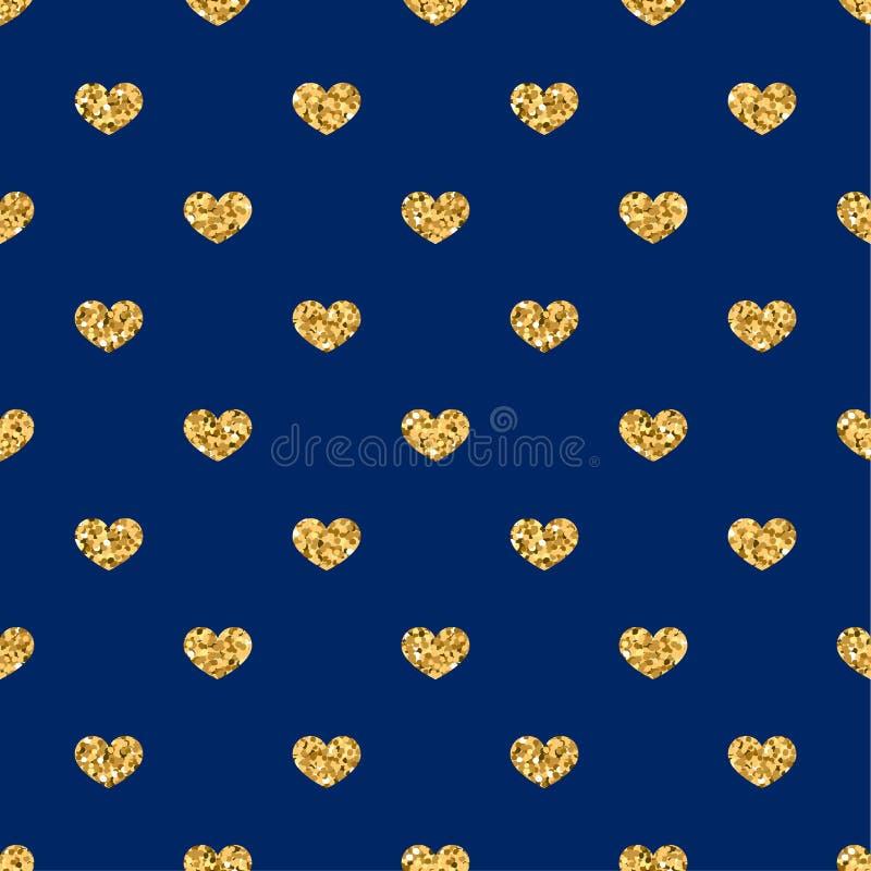 Nahtloses Muster des Goldherzens Goldene geometrische Konfettiherzen auf blauem Hintergrund Symbol der Liebe, Valentinstagfeierta vektor abbildung