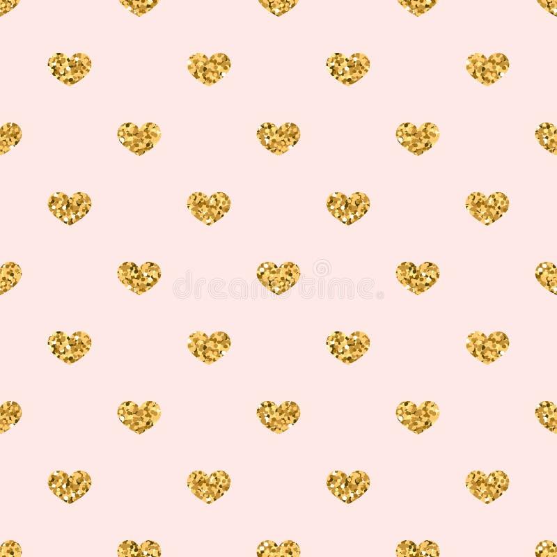 Nahtloses Muster des Goldherzens Goldene geometrische Konfettiherzen auf rosa Hintergrund Symbol der Liebe, Valentinstagfeiertag stock abbildung