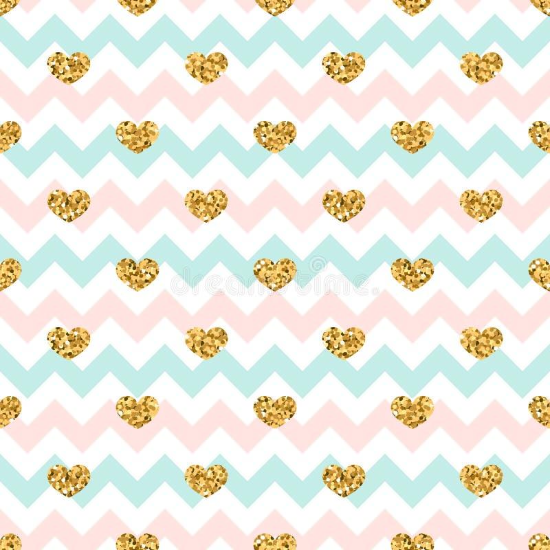 Nahtloses Muster des Goldherzens Rosa-blau-weißer geometrischer Zickzack, goldene Konfettiherzen Symbol der Liebe, Valentinstag stock abbildung