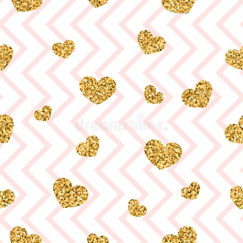 Nahtloses Muster des Goldherzens Rosa-weißer geometrischer Zickzack, goldene Konfettiherzen Symbol der Liebe, Valentinstagfeierta stock abbildung