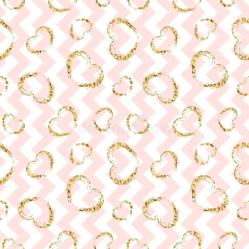 Nahtloses Muster des Goldherzens Rosa-weißer geometrischer Zickzack, goldene Schmutzkonfettiherzen Symbol der Liebe, Valentinstag lizenzfreie abbildung