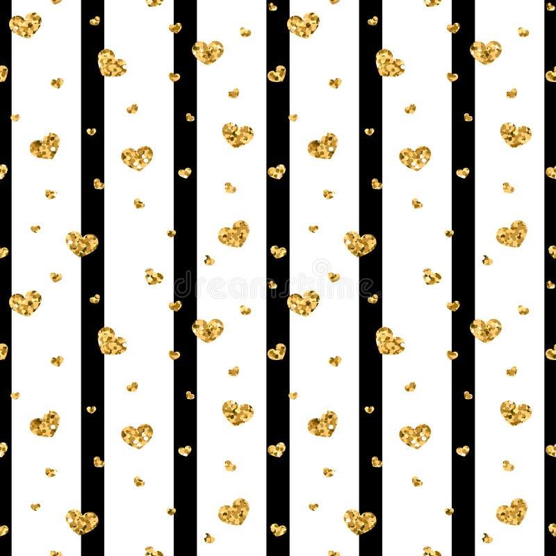 Nahtloses Muster des Goldherzens Schwarz-weiße geometrische Streifen, goldene Konfettiherzen Symbol der Liebe, Valentinstag stock abbildung