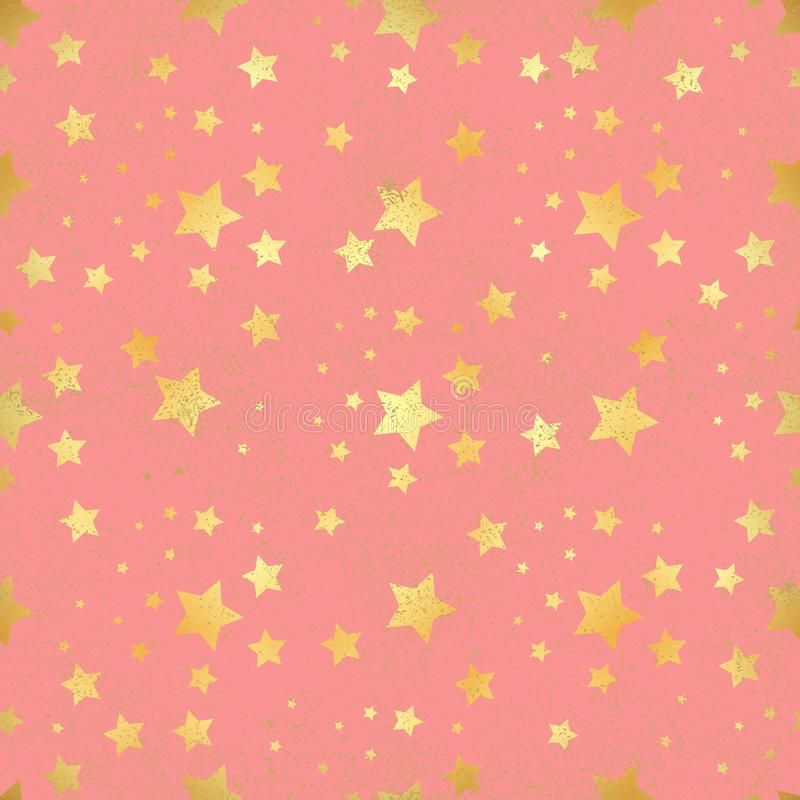 Nahtloses Muster des Goldsternes Abstraktes rotes modernes nahtloses Muster mit Goldkonfettis spielt die Hauptrolle Glänzender Hi lizenzfreie abbildung
