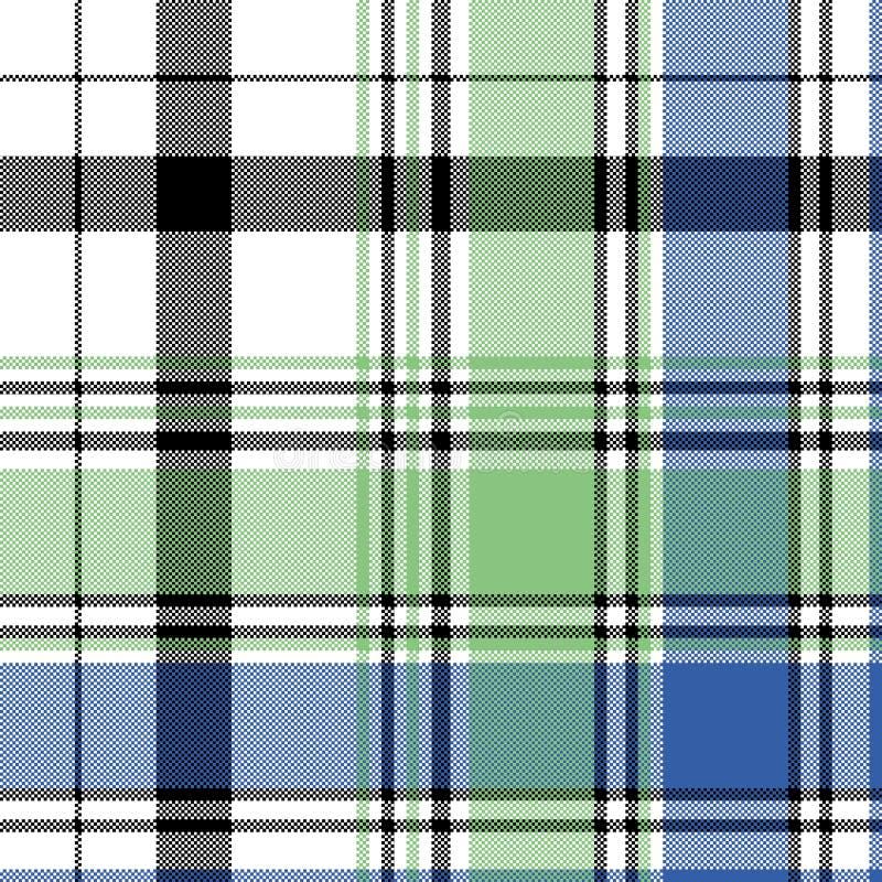 Nahtloses Muster des grün-blauen Kontrollplaid-Pixels lizenzfreie abbildung