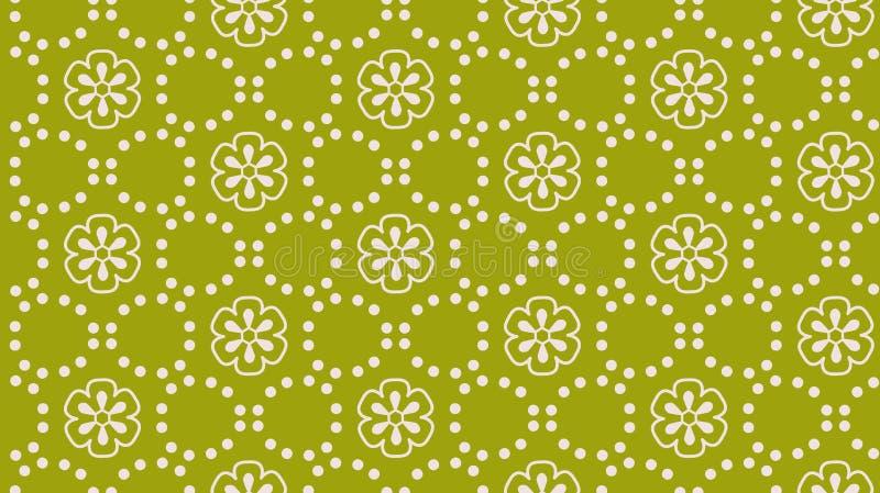 Nahtloses Muster des grünen abstrakten Blumenpunkt-Vektors lizenzfreie abbildung